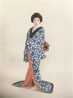 「秋田岡本新内」の衣装で記念撮影=平成2年