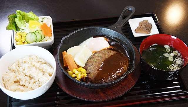県産豚肉や町産野菜を使った「薬膳ハンバーグ定食」