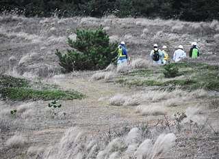 防衛省が「適地調査」を始めた昨年10月29日、新屋演習場の状況を確認して歩く作業員ら=秋田市