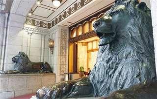 金子先生と待ち合わせをしたライオン像前=現在