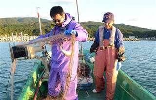 「漁業スクール」で刺し網漁を体験する参加者(左)=9月25日、男鹿市の椿漁港