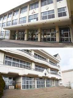 かつて全校児童が1500人を超すマンモス校だった八橋小(上)。分離新設の寺内小と統合する案が示された