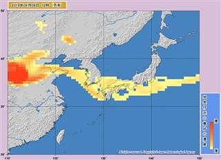 気象庁による黄砂の飛来予測(気象庁提供)