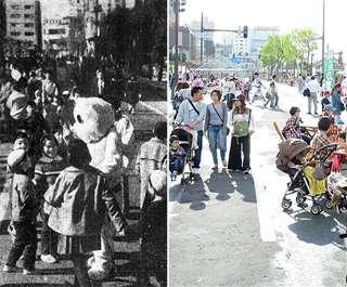 広小路での歩行者天国の様子。左は1970年11月、右は2017年5月