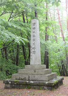 中国人収容所跡が沈むダム湖近くの丘に立つ日中不再戦友好碑。周囲には木が生い茂り、ダム湖は見えない=大館市花岡町