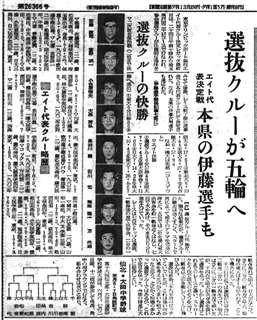 エイト選抜チームの代表決定を伝える秋田魁新報=昭和39(1964)年5月25日付