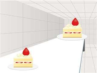 北川教授が例示したケーキの図のイメージ。奥にあるケーキの方が大きく見えるが、手前のケーキと大きさは同じ
