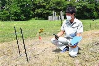 遺跡内にクマが侵入しないよう設置した電気柵の電圧を検査する鹿角市の学芸員。来場者が安全に見学できる環境整備も学芸員の仕事の一つ=鹿角市の大湯環状列石
